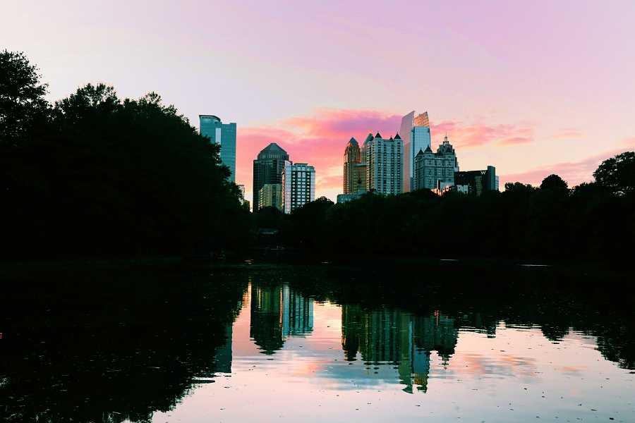 City view of Atlanta with water at dusk