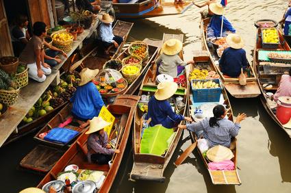 March� flottant pr�s de Bangkok