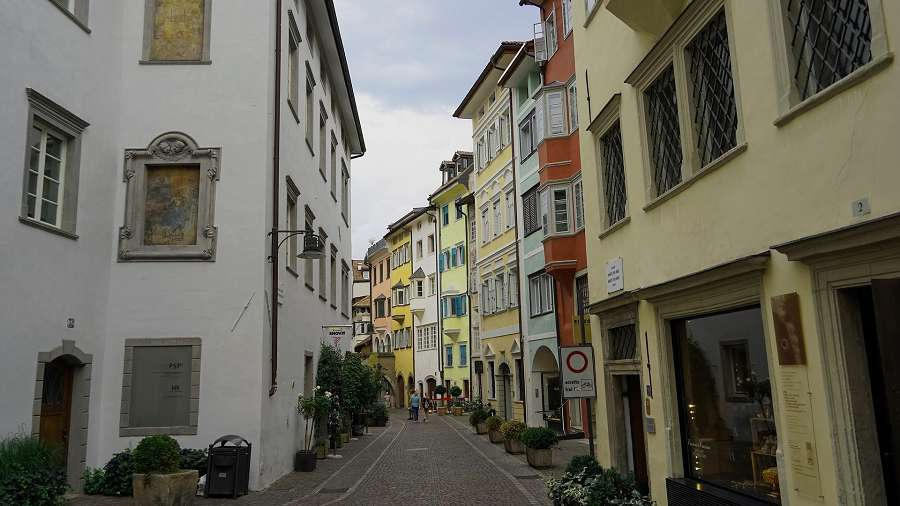 View of charming street in Bolzano.