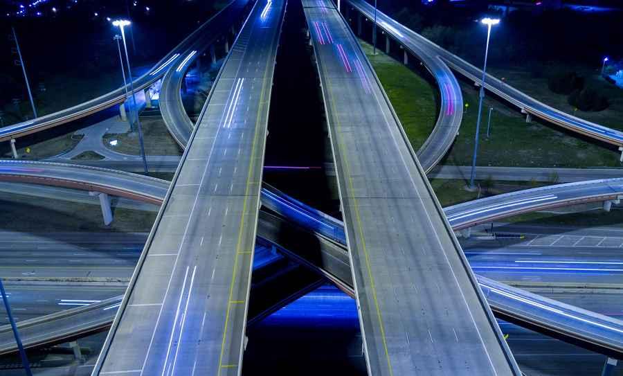 Dallas highways at night