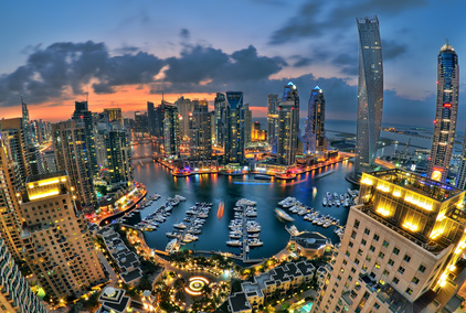 View across brightly lit Dubai