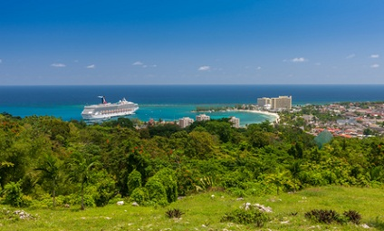 Montego Bay city view with water and ship