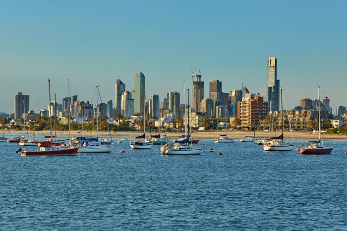 Melbourne city view with water
