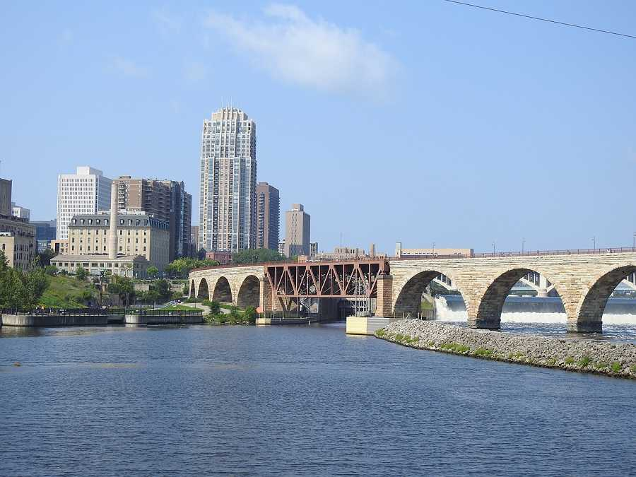 View of Minneapolis with Stone Arch Bridge