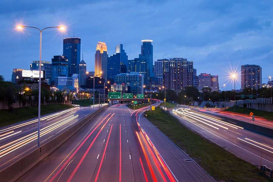 Minneapolis cityscape with traffic at night