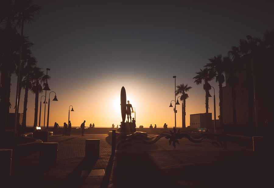 Sculpture of surfer in San Diego