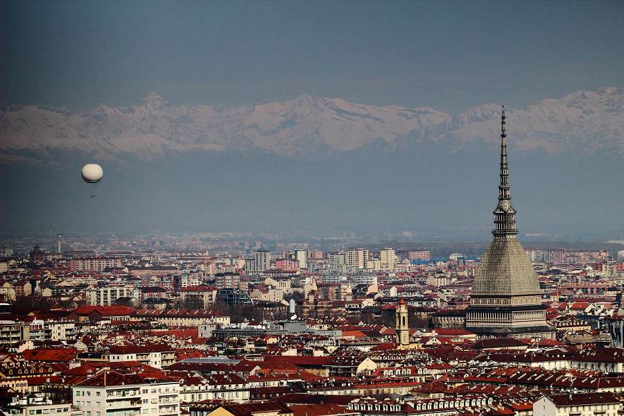 View of Turin with mountains in the background