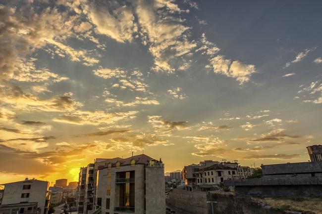 Coucher de soleil sur Erevan