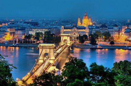 Budapest city view at night with bridge