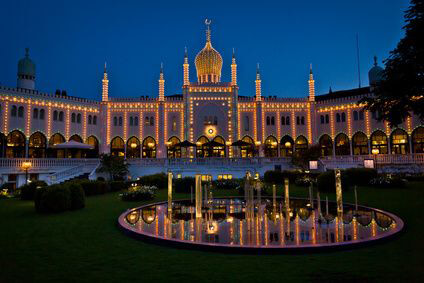 Copenhagen Tivoli amusement park at night