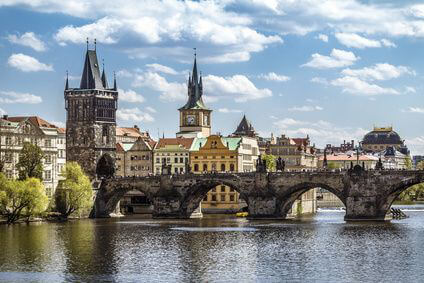 Prague city view with bridge