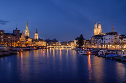 Zurich city view at night
