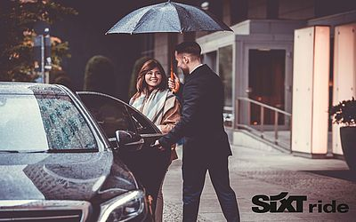 myDriver – your premium transfer service. 10% discount on your ride. Just send an email to travelagent@sixt.com.